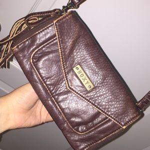 Roxy Faux Brown Leather Crossbody Purse